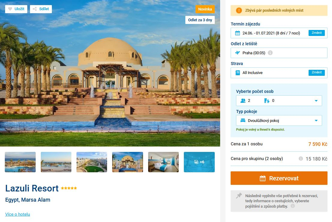 screen 20210621 1524 - Luxusní dovolená v Egyptě na 8 dní s all inclusive za 7590 Kč - last minute letecky z Prahy