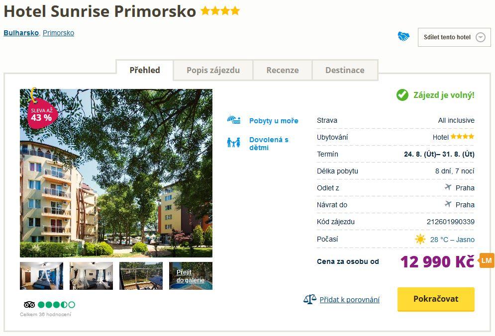 screen 20210715 0746 - All inclusive dovolená v Bulharsku na týden letecky z Prahy za 12990 Kč - 4* hotel se slevou 43%