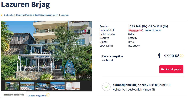 screen 20210721 1531 - Bulharsko, Sozopol na týden za 9990 Kč - last mnute letecky z Brna