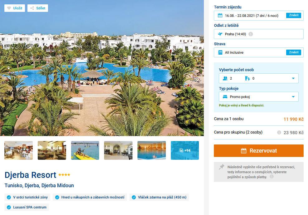 screen 20210724 2014 - Tunisko, all inclusive Djerba na 7 dní za 11990 Kč - last minute letecky z Prahy