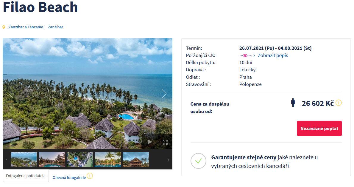 screen 20210725 1048 - Levný Zanzibar na 10 dní s polopenzí za 26602 Kč - zítra letecky z Prahy