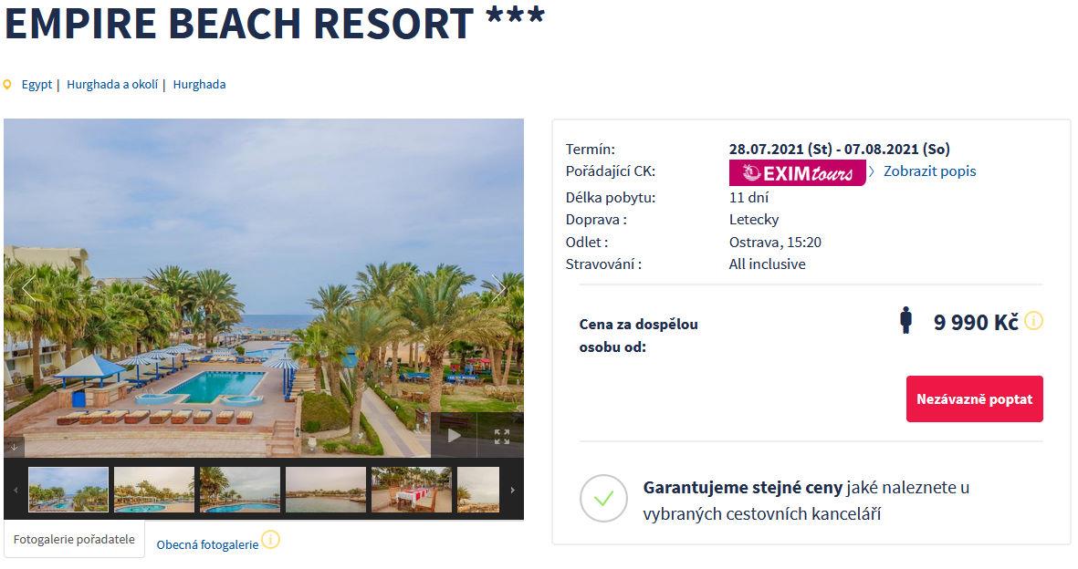 screen 20210725 1635 - Egypt, Hurghada na 11 dní s all inclusive za 9990 Kč - last minute letecky z Ostravy