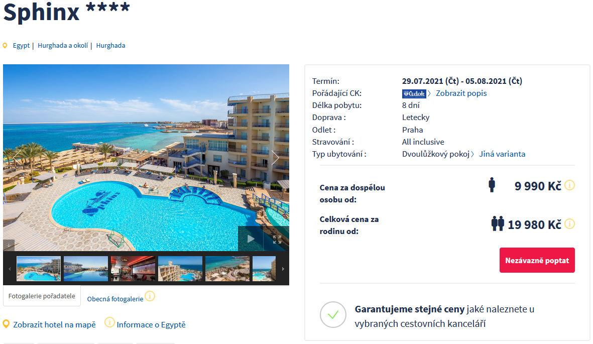 screen 20210728 0655 - Egypt, Hurghada na 8 dní s all inclusive za 9990 Kč - zítra letecky z Prahy