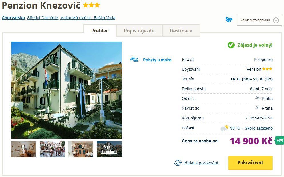 screen 20210729 1809 - Chorvatsko letecky z Prahy na týden s polopenzí za 14900 Kč - first minute