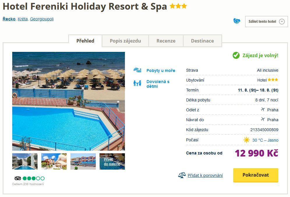 Fereniki Holiday Resort & Spa, Řecko - Kréta