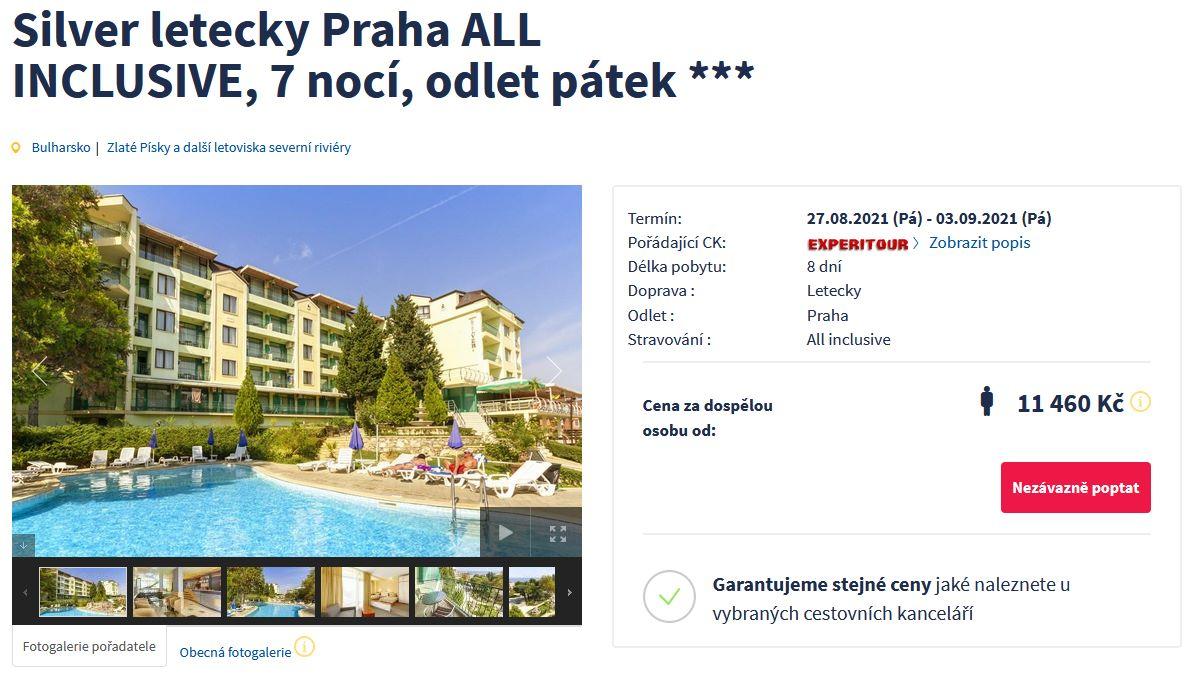 screen 20210811 0637 1 - Bulharsko, Zlaté Písky na 8 dní s all inclusive za 11460 Kč - letecky z Prahy