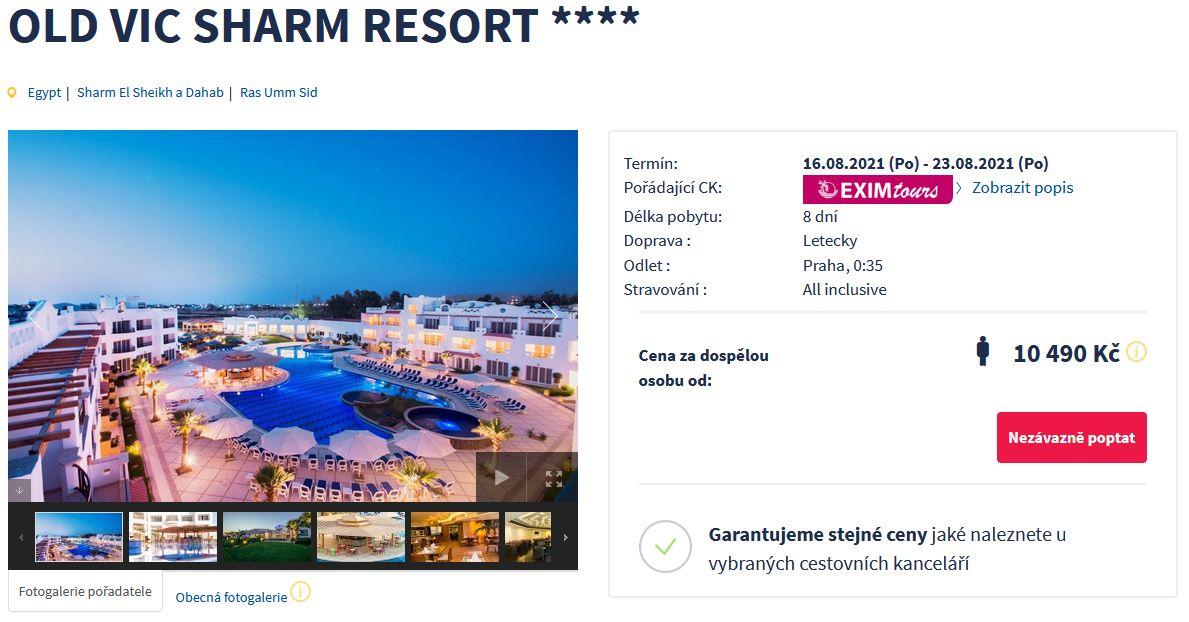 screen 20210813 0653 - Exim Tours Egypt, Sharm El Sheikh na 8 dní s all inclusive za 10490 Kč - pozítří letecky z Prahy