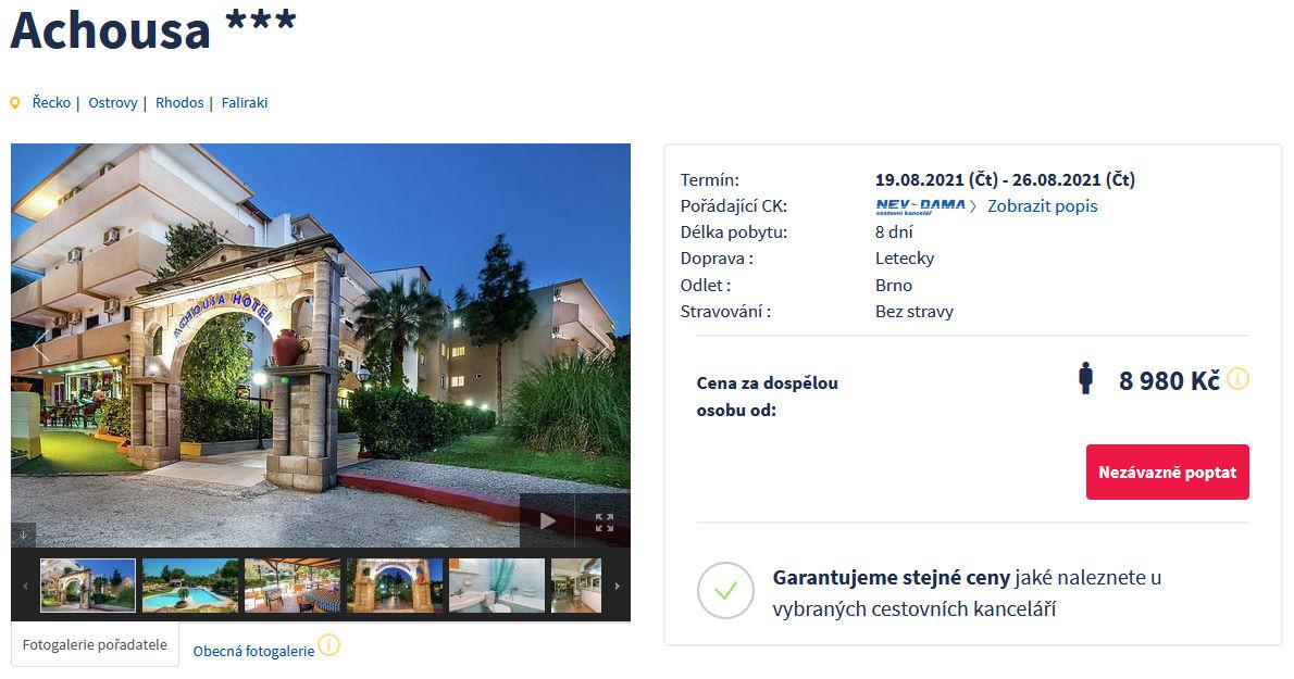screen 20210815 0745 - Rhodos, Faliraki na týden za 8980 Kč - last minute letecky z Brna