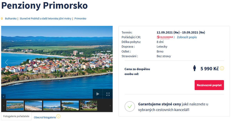 screen 20210829 0806 - Bulharsko, Primorsko v září na 8 dní za 5990 Kč - letecky z Brna