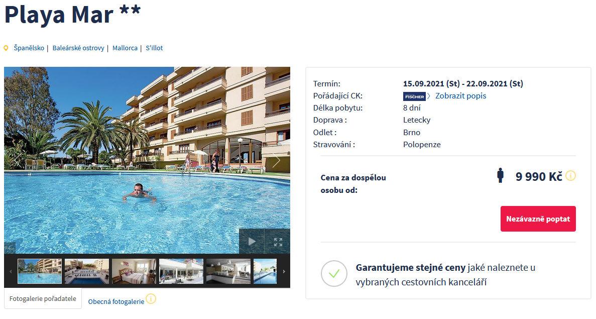 screen 20210908 0704 - Mallorca s Fischerem na 8 dní včetně polopenze za 9990 Kč - letecky z Brna
